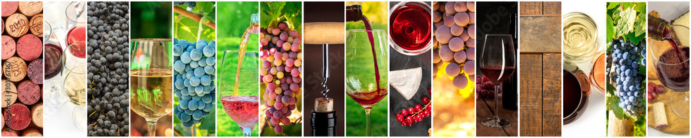 Fototapety, obrazy: Wine Collage. A panorama of many photos of wine glasses, pouring wine, grapes at vineyards, corks, tastings, barrels, a design for a banner or flyer