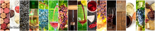 Photo sur Toile Vin Wine Collage. A panorama of many photos of wine glasses, pouring wine, grapes at vineyards, corks, tastings, barrels, a design for a banner or flyer