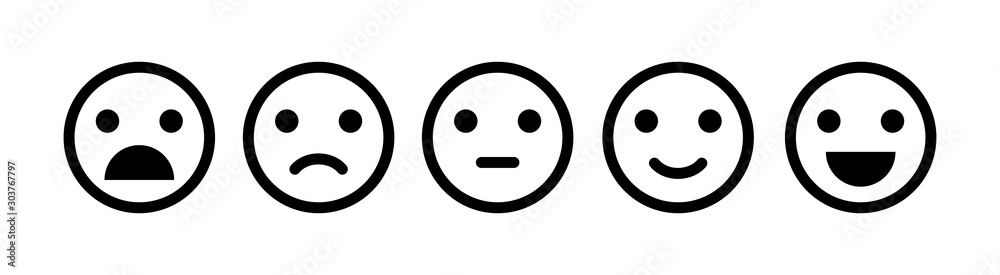 Fototapeta Emoji icon set of satisfaction level in flat style