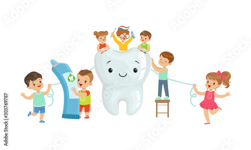 Obraz na płótnie Little Kids Taking Care of Tooth Purity Brushing it With Toothbrush Vector Illus