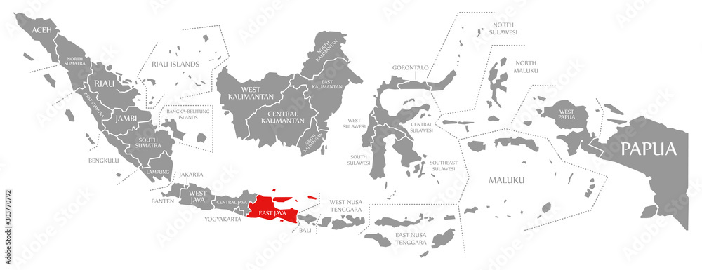 Fototapety, obrazy: East Java red highlighted in map of Indonesia