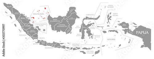Cuadros en Lienzo Riau Islands red highlighted in map of Indonesia