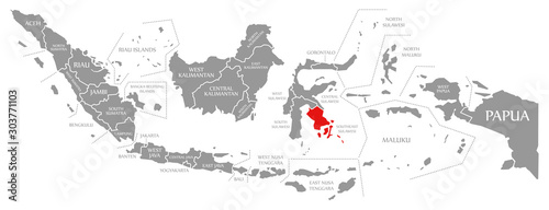 Photo  Southeast Sulawesi red highlighted in map of Indonesia