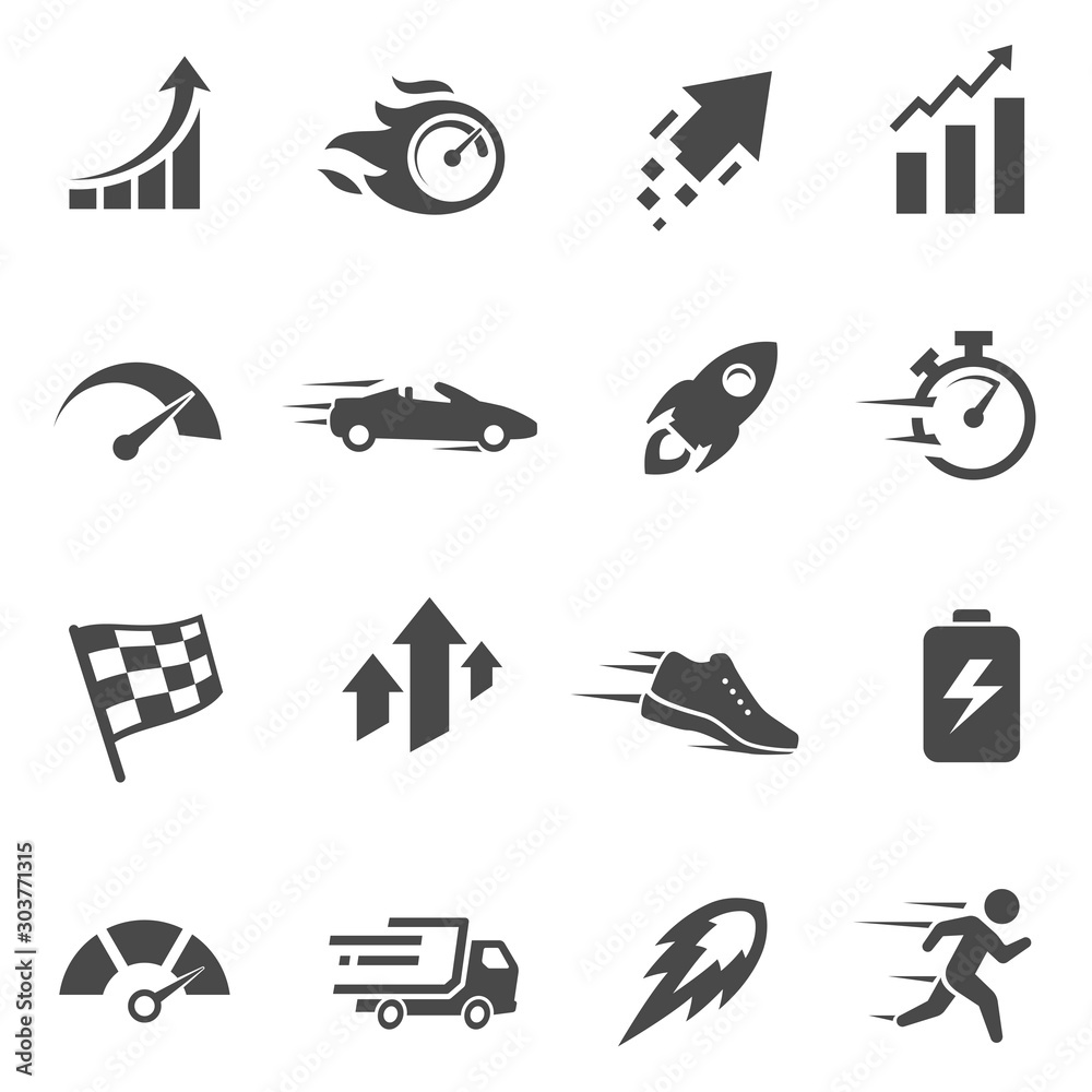 Fototapeta Speed and performance black and white glyph icons set
