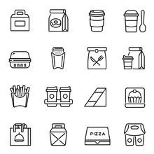 Take Away Food And Drinks Linear Icons Set