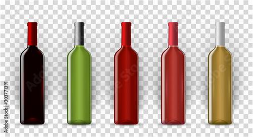 Stampa su Tela  Blank wine bottles realistic vector mockup set