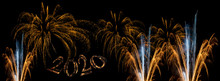 2020 New Year Red Gold Fireworks Banner Cover Background