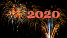 2020 Happy New Year's Eve  Red And Gold Fireworks Cover Banner
