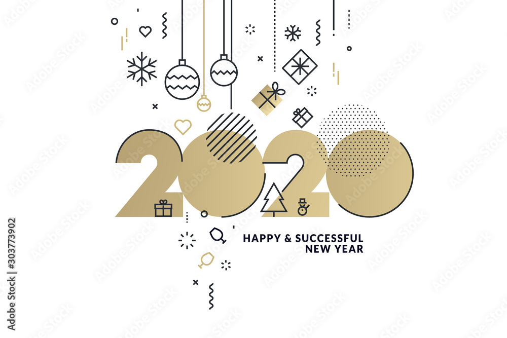 Fototapeta Happy New Year 2020 business greeting card. Modern vector illustration concept for background, greeting card, website banner, party invitation card, social media banner, marketing material.