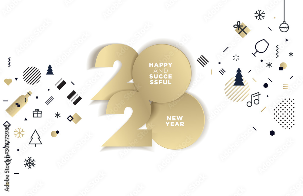 Fototapeta Happy New Year 2020. Modern vector illustration concept for background, greeting card, website and mobile website banner, party invitation card, social media banner, marketing material.