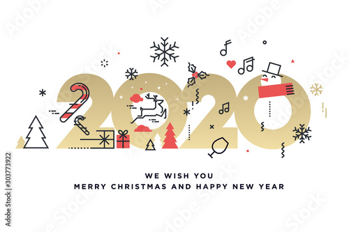 Obraz Merry Christmas and Happy New Year 2020. Modern vector illustration concept for background, greeting card, party invitation card, website banner, social media banner, marketing material. - fototapety do salonu