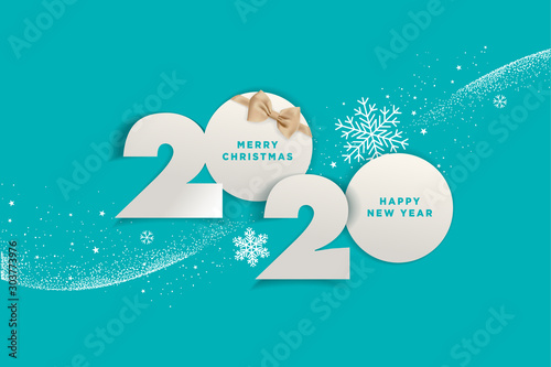 Obraz Merry Christmas and Happy New Year 2020. Vector illustration concept for background, greeting card, website and mobile website banner, party invitation card, social media banner, marketing material. - fototapety do salonu