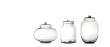 Empty Glass Jars Isolated On White Background