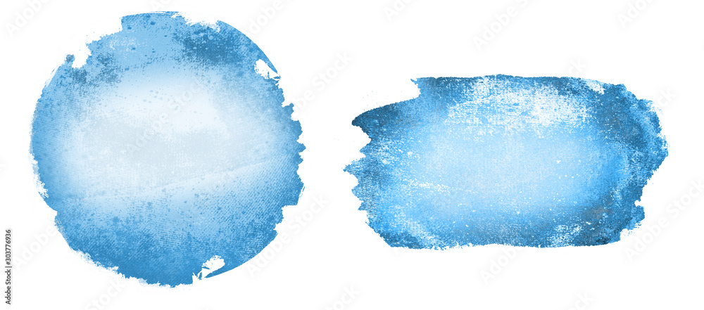Fototapety, obrazy: Two watercolor circle and rectangle on white as background