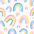 Childish style watercolor rainbow seamless pattern for kids wear. Hand drawn rainbow design for children fabric, wrapping, textile, wall. Trendy kids background.