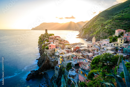 Vernazza - Village of Cinque Terre National Park at Coast of Italy Canvas