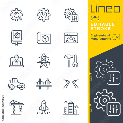 Obraz Lineo Editable Stroke - Engineering and Manufacturing line icons - fototapety do salonu