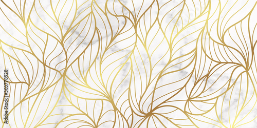 Obraz voucher, style, leaves, golden, vip, metallic, geometric, marble, modern, luxury, banner, wedding, gold, frame, card, invitation, foil, vintage, marbled, botanical, stone, packaging, business, exotic, - fototapety do salonu
