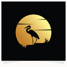 Heron Silhouette With Moon Background Logo Design Template