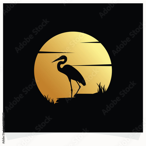 Fototapeta Heron Silhouette with Moon Background Logo Design Template