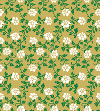 Luxury White Flower Green Vine Seamless Pattern