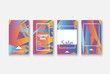 Modern business geometric template banner for design. Social media network concept. Promotion poster background. Creative stories set. Abstract vector illustration. Trendy gradient neon colors