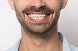 canvas print picture - Close up smiling male mouth with white teeth.