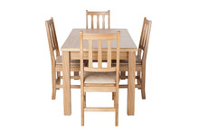 A Set Of Kitchen Furniture Made Of Natural Wood, A Dining Table And Four Chairs, Isolated On The White Background.