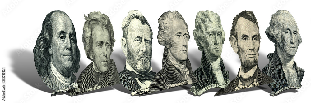 Fototapety, obrazy: Portraits of presidents and politicians from dollars