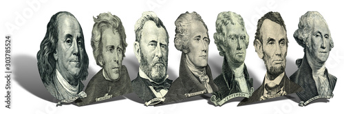 Fotografía  Portraits of presidents and politicians from dollars