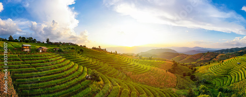 Recess Fitting Rice fields Panorama Aerial View sunlight at twilight of Pa Bong Piang terraced rice fields, Mae Chaem, Chiang Mai Thailand