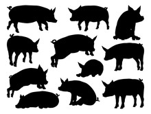 A Pig Silhouettes Farm Animal ...