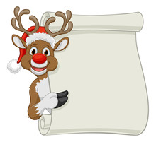 Christmas Reindeer In A Santa Hat Cartoon Character Peeking Around A Scroll Sign And Pointing At It