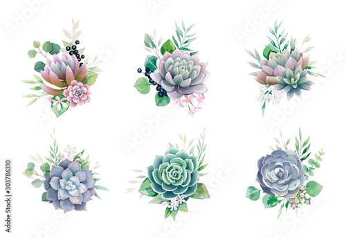 Fototapeta Greenery and succulent, romantic bouquets for wedding invite or greeting card. element set. obraz