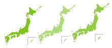 簡易日本地図 四角ド...
