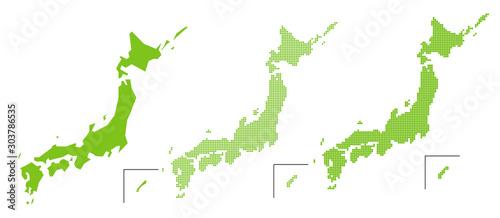 Obraz 簡易日本地図 四角ドット・丸ドット - fototapety do salonu