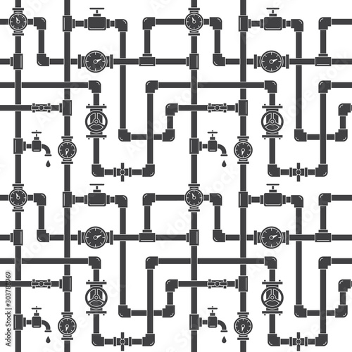 Fototapeta Seamless pattern with pipes, cranes and water meters. Linear black and white illustration. White backdrop. Plumbing system vector illustration. obraz