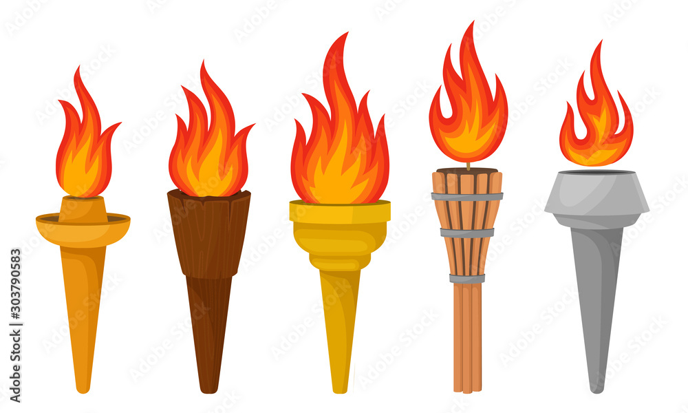 Fototapeta Different Torches With Brightly Burning Fire Vector Set