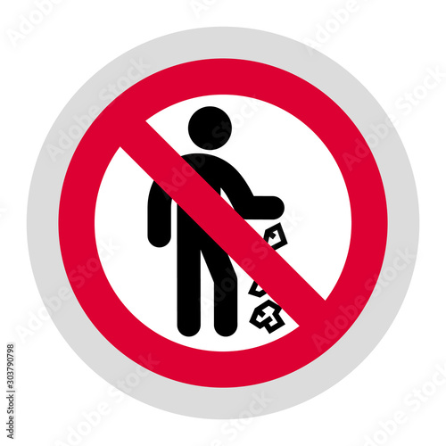 Fotografía  No trash forbidden sign, modern round sticker, vector illustration for your desi