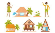 Summer Beach Houses Vector Set. People Characters Enjoying Vacation Time