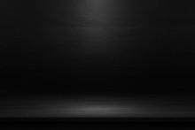 Black Table In The Dark Background.