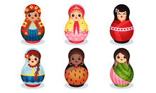 Nesting Dolls In Colorful Cost...