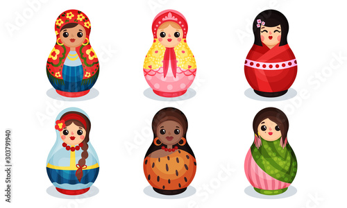 Obraz Nesting Dolls in Colorful Costumes of Different Countries Vector Set - fototapety do salonu