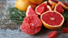 Fresh Juicy Grapefruits. Vegan Diet. Healthy Food. Keto Diet. Selective Focus. Macro.
