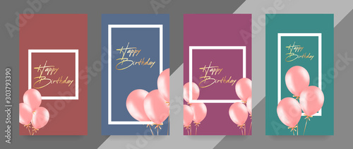 Cuadros en Lienzo  Happy Birthday card template with balloons