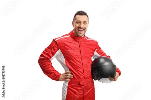 Fényképezés Smiling male car racer with a helmet