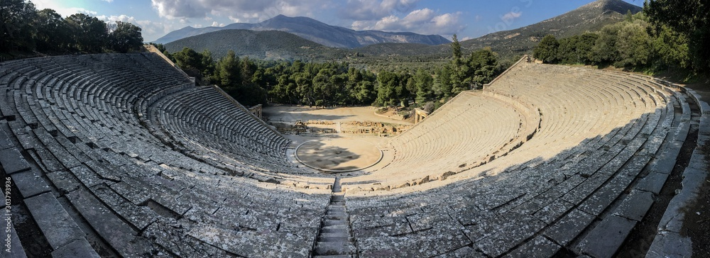 Fototapeta Wideangle panorama of famous ancient Epidauros amphitheater located in Greece near Lighourio