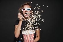 Happy Cute Young Woman Eat Popcorn Watch Cinema.
