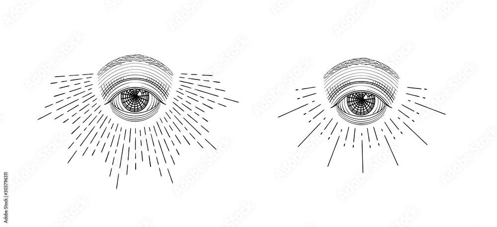 Fototapeta Vector all-seeing eye, eye in the sky with light ray, symbol of the Masons, Illuminati, monochrome hand drawn sketch