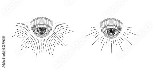 Leinwand Poster Vector all-seeing eye, eye in the sky with light ray, symbol of the Masons, Illu